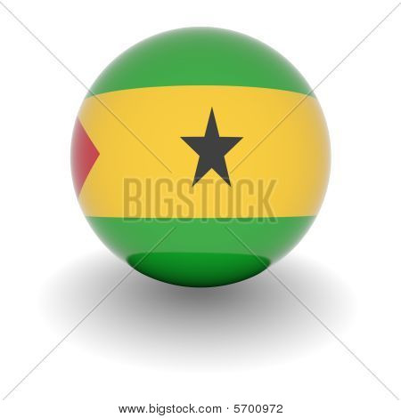 High Resolution Ball With Flag Of Sao Tome And Principe