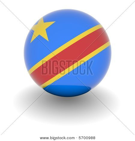 High Resolution Ball With Flag Of The Democratic Republic Of The