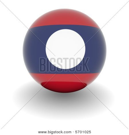 High Resolution Ball With Flag Of Laos