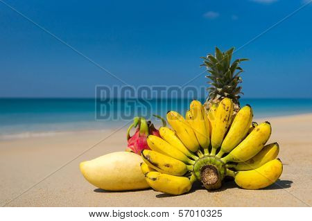 Tropical fruits on beach