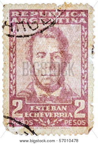 Stamp Printed In The Argentina, Shows Esteban Echeverria (overprint Servicio Oficial)