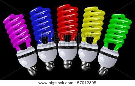 Energy Saving Lamp Color With A Black Background