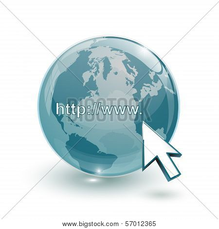 Glass Globe Earth Map 3D Blue And Cursor With Internet Address