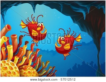 Illustration of the two fishes under the sea near the coral reefs on a white background