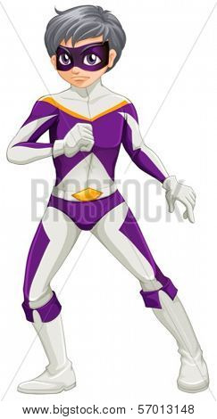 Illustration of a male superhero with a violet mask on a white background