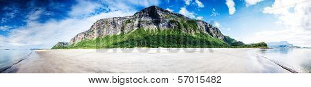 180 Degrees Panoramic Shot Of An Empty Untouched Beach In Northern Norway