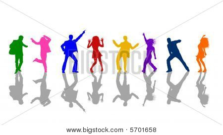 Dancing People On White Background