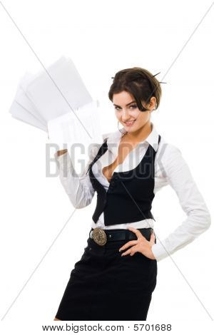 Business Woman Standing With Pile Of Papers
