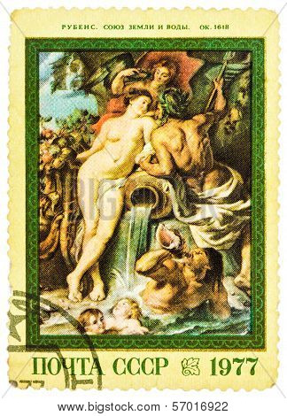 Postage Stamp Printed In Russia, Shows A Painting By Rubens From Hermitage Collection
