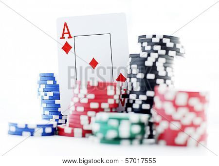 ace and poker chips isolated on white background