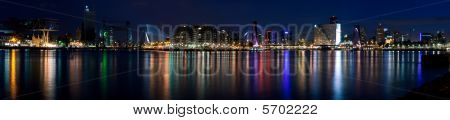 Night Panorama Of Rotterdam And Mass River