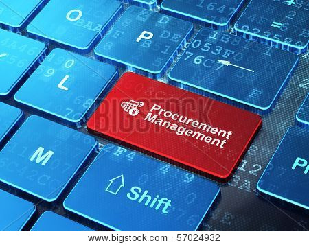Finance concept: Calculator and Procurement Management on computer keyboard background
