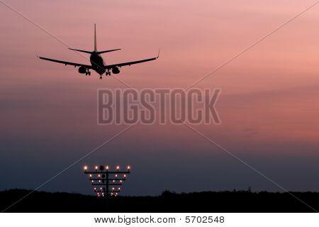 A landing airplane