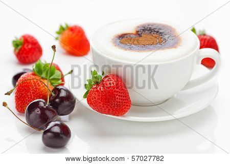 Cappuccino In A Cup In The Shape Of Hearts,cherry  And Strawberries Isolated On White