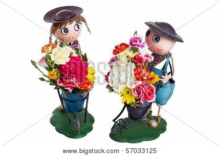 Zinc Doll With Colorful Flower