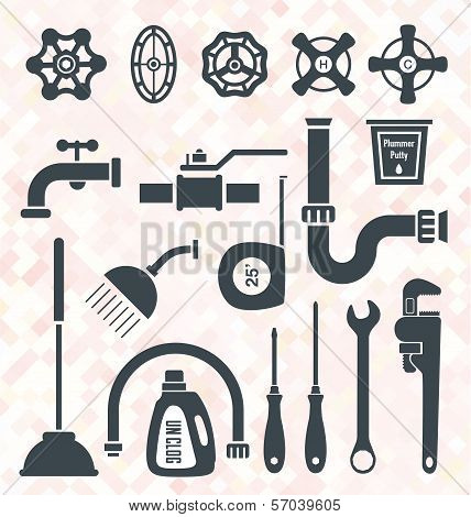 Vector Set: Plumbing Service Objects and Tools