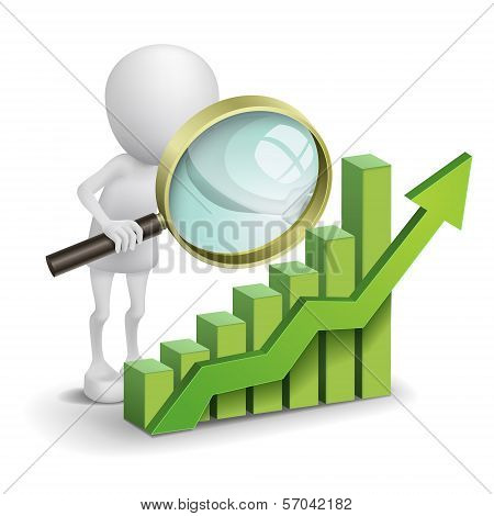3D Person With A Bar Chart And A Magnifier