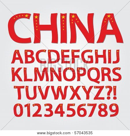Flag Of China Alphabet And Digit Vector