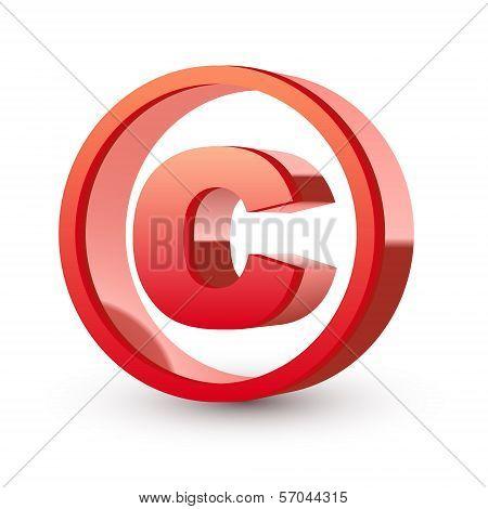 Red Glossy Copyright Symbol