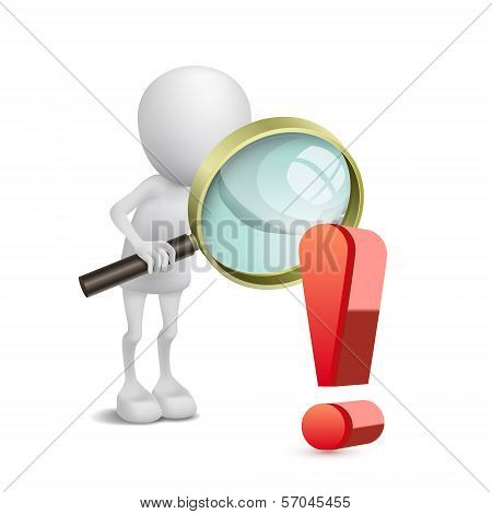 3D Person Watching An Exclamation Mark With A Magnifying Glass