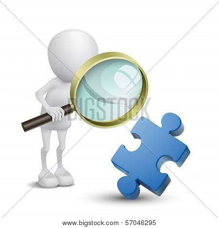 3D Person With Magnify Examines Puzzle