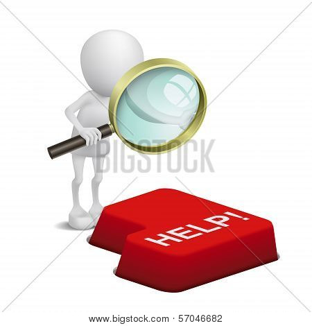 3D Person Watching A Keyboard And Text Help With A Magnifying Glass