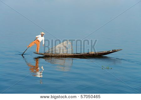 Traditional Fishing By Net In Burma