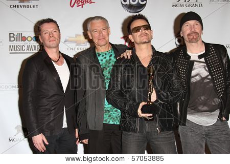 Larry Mullen Jr., Adam Clayton, Bono and The Edge of U2 at the 2011 Billboard Music Awards Press Room, MGM Grand Garden Arena, Las Vegas, NV. 05-22-11
