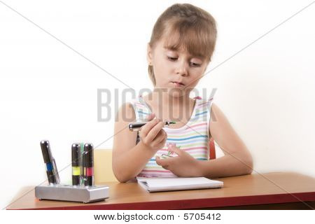 Beautiful Caucasian Girl Learning