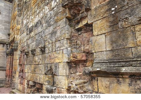 Ruined Medieval Wall In Scotland
