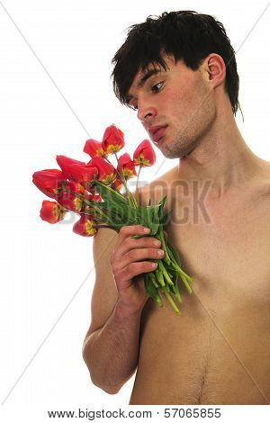 Man With Red Tulips