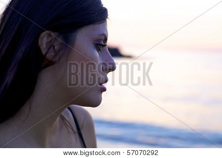 Sad Woman Crying During Sunset