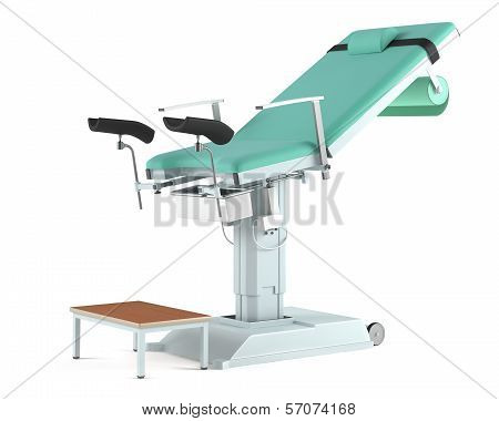 Medical gynecological chair isolated