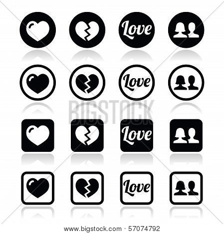 Love, heart, couple icons for Valentine's day