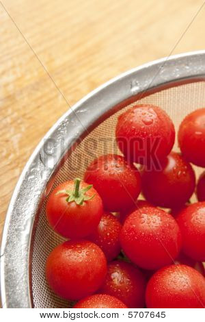 Colander With Fresh Washed Tomatoes