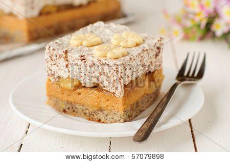 Caramel Custard, Banana And Chocolate Whipped Cream Layer Cake
