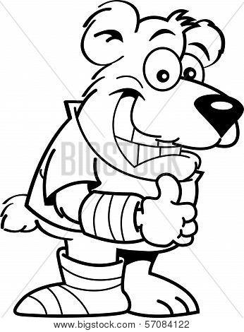 Cartoon bear with casts.