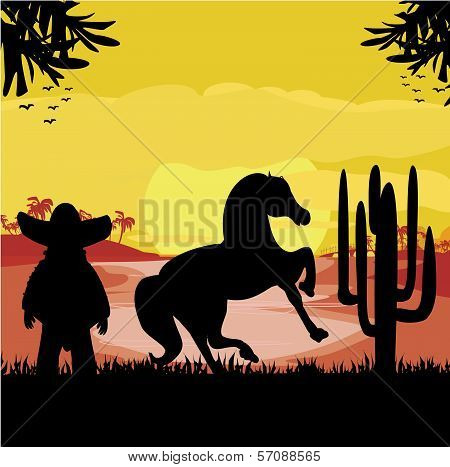 Man In A Sombrero And His Horse In Desert Sunset