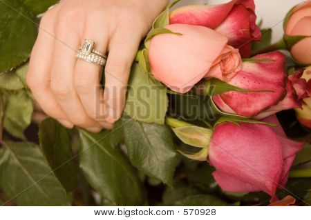 Bride's Hand With Roses