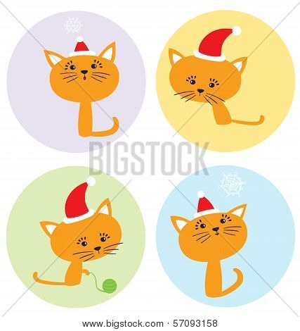 Cartoon Christmas Set With Funny Kittens