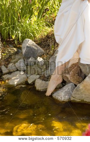 Bride By A Stream