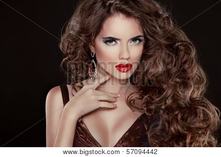Beautiful Hair, Fashion Woman Portrait. Beauty Model Girl With Luxurious Wavy Long Hair And Sexy Red