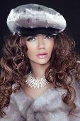 stock photo of mink  - Beauty Fashion Model Woman in Mink Fur Coat - JPG