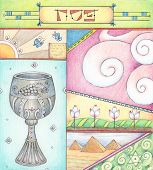 stock photo of passover  - Colorful Passover greeting card made with Colored pencils - JPG
