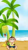Illustration of a monkey resting under the banana plant at the beach
