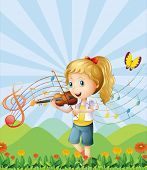 stock photo of g-string  - Illustration of a girl at the hilltop playing with her violin - JPG