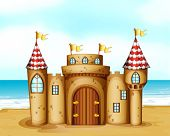 stock photo of yellow castle  - Illustration of a castle at the beach - JPG