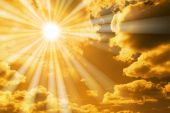 stock photo of sun god  - mystic orange sky with sun showing religious energy - JPG