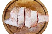 foto of red snapper  - Red snapper fish fillet on wood block - JPG