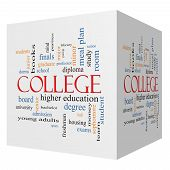 stock photo of bachelor party  - College 3D cube Word Cloud Concept with great terms such as tuition study student major and more - JPG